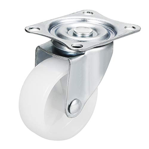 sourcing map Pivot Roulette 2Po Nylon Plaque sup. Monté Roulette Roue Blanc 66lb Capacité