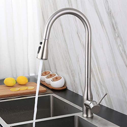WJYHXW Grifo De Cocina, Grifo con Ducha Extraible 2 Modos De Flujo De Agua Giratorio De 360° para El Fregadero De Cocina Monomando Grifería, Frío Y Calor Disponibles