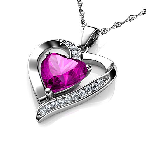 Pink Heart Necklace DEPHINI - 925 Silver Heart Pendant with White CZ & Pink Birthstone Embellished with Branded Crystal for Women, 18' Sterling Silver Chain + Jewellery Box, Gifts for Women
