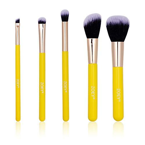 5 PC-pinceau de maquillage Set haute qualité Brosses synthétiques avec bois Poignées-Kabuki Cosmétique Fondation Blending fard à joues Eyeliner Poudre Kit brosse pinceaux de maquillage (couleur jaune)