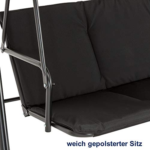 M MCombo 3-Sitzer Hollywoodschaukel Gartenschaukel Gartenliege Schaukelbank 8003 (Schwarz) - 6