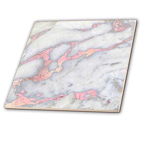 3dRose Grau Rose Gold Gem Stein Marmor Glitzer Metallic Faux Print Keramik Fliesen, 15,2cm