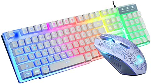 Wired Gaming Keyboard and Mouse Combo Rainbow LED RGB T6 Backlight USB Ergonomic Gaming Keyboard and Mouse Set for PC Laptop (White, Keybord and Mouse)