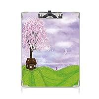 クリップボード A4 自然 かわいい画板 咲く春の木とカイト牧歌的な画像を持つ少女 A4 タテ型 クリップファイル ワードパッド ファイルバインダー 携帯便利ライムグリーンライラックのシングルハウス