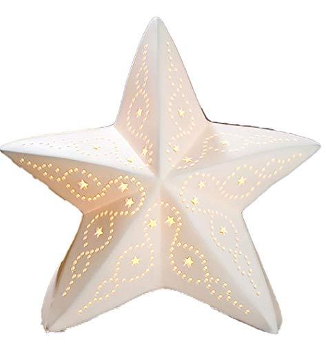 Gilde - Porzellan-Lampe Stern - Winterliche Tischleuchte Nachttischlampe Nachttischleuchte Stimmungslampe Weiss 28cm