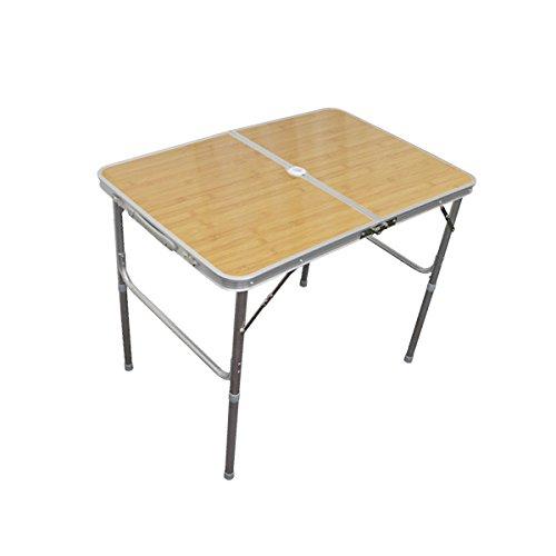 MERMONT アルミレジャーテーブル 折りたたみ ベージュ/ナチュラル (バンブー) [幅 90cm]