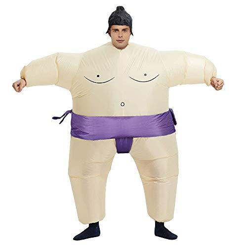 Aufblasbares Sumo-Ringer-Kostüm, Anzug, unisex, fetter Anzug, lustiges Halloween-Kostüm, Erwachsene/Kinder, Cosplay-Kostüm, Outfit... (lila Sumo)
