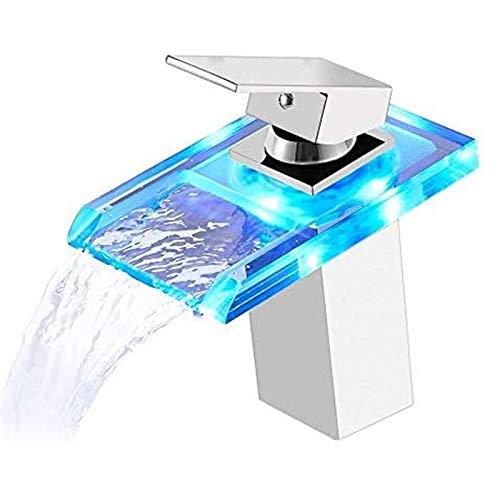 WPHH Grifo Lavabo Cascada con LED para Baño con Cambio De Color RGB 3, Grifos Monomando De Latón Macizo para Lavabo, Grifo Mezclador De Vidrio para Agua Fría Y Caliente