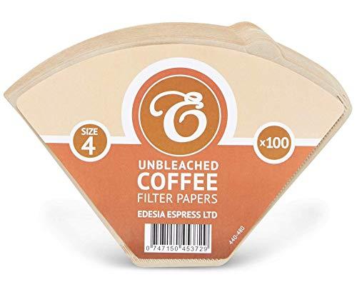 EDESIA ESPRESS - 100 filtri caffè americano in carta non sbiancata - forma a cono - misura 4