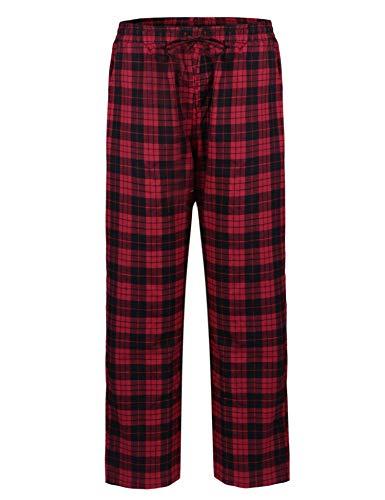 Aibrou Mens Pyjama Broek Plaid Slaapmode Klassieke Gecontroleerde Lounge Draag Pjs Broek Bottoms Nachtkleding