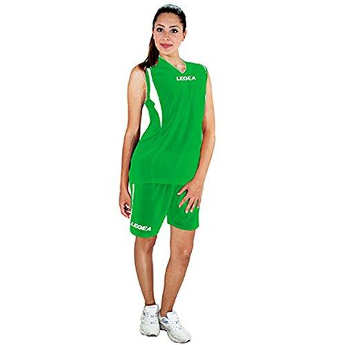 LEGEA Kit Basket Atlanta Completo Completino Donna Verde-Bianco TORNEO Sport