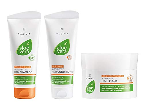 LR Aloe Via Serie -  Set de cabello de aloe vera -  200 ml de champú Nutri- Repair / 200 ml de acondicionador Nutri- Repair / 200 ml mascarilla Nutri- Repair para el cabello