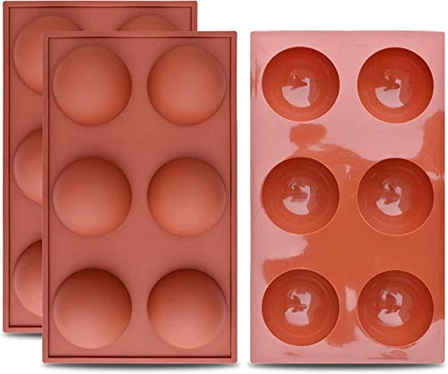 Hot Chocolate Bomb Large 6-Cavity Semi Sphere Silicone Mold Baking Mold for Making Hot Chocolate Bomb, Cake, Jelly,Half Dome Mol /3 pcs