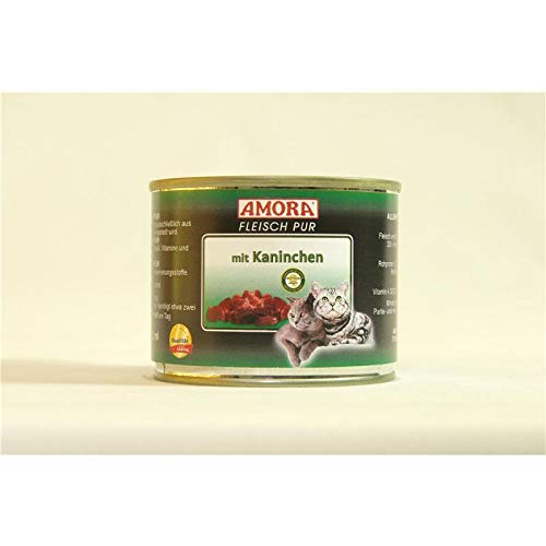 Amora Cat Fleisch pur mit Kaninchen | 6 x 200g Katzenfutter nass