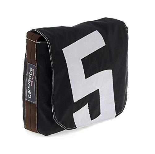 Messenger Bag CANVASCO Mini/Tasche Schoko/Gurt braun-schwarz/Motiv 5 weiß
