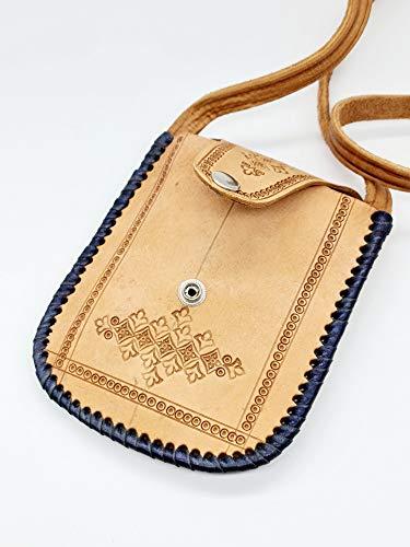 FASTER BOLSO PORTA MASCARILLAS - PORTADOCUMENTOS CUERO 100% BOVINO. Bandolera auténtica piel y hecha a mano-Ideal para llevar teléfono móvil, monedero-tarjetero. Elaborado de manera artesanal.