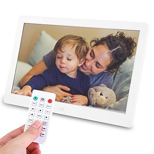 Digitale fotolijst 13 Inch 1280 * 800HD Formaat 16:10 Helderheid 220cd/㎡ Digitale fotolijst met foto/muziek/video/kalenderfunctie/alarm, verjaardagscadeaus(wit)
