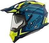 Vemar Kona Desert - Casco da moto, colore: blu opaco/verde fluorescente