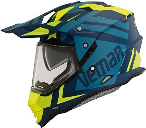 Vemar Kona Desert - Casco da moto, colore: Blu Verde Flu M