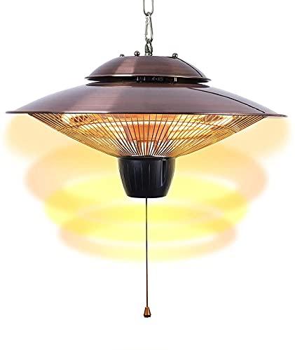 CHANG Calentador De Patio Al Aire Libre, Calentador De Techo Eléctrico Colgante Halógeno 2 Engranajes Luces De Calefacción Ajustables para Jardín Interior,Copper