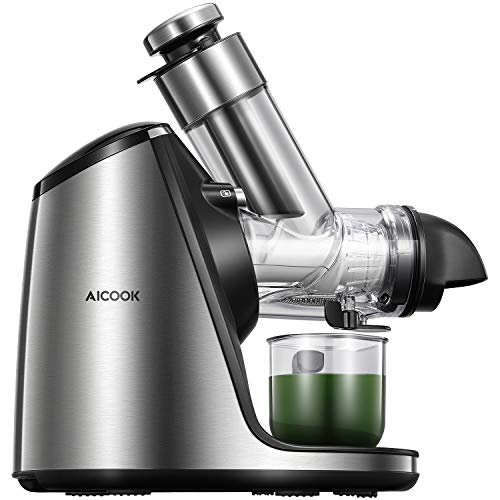 Juicer Machines with 3in Large Feed Chute, Aicook 200W Slow Masticating Juicer Extractor Easy to Clean. Reverse Function & Quiet Motor, Ceramic Auger, Ice Cream ACC & Recipes for Fruits and Vegtables