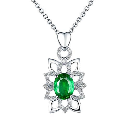Beydodo Damen Kette 18 Karat Weißgold 750, 1.3ct Oval Smaragd Blume Anhänger Charms Hochzeit Halskette mit Diamant für Frauen