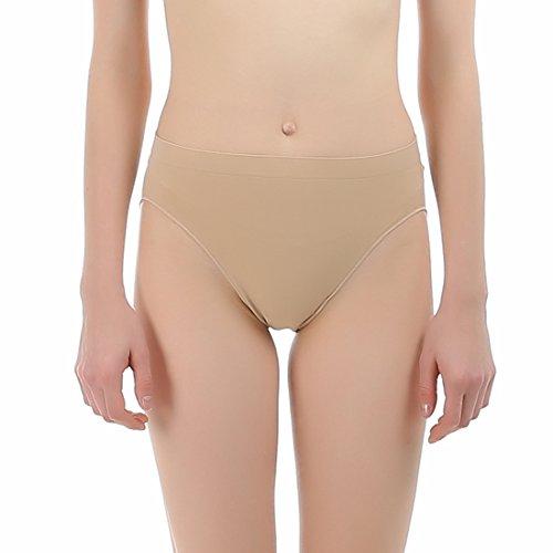iMucci Professional Girl Ballet Dance Briefs Women - Beige Velvet Cotton Mid Rise Waist Panty Gymnastics Underpants (for Child 5-10 Years) Indiana