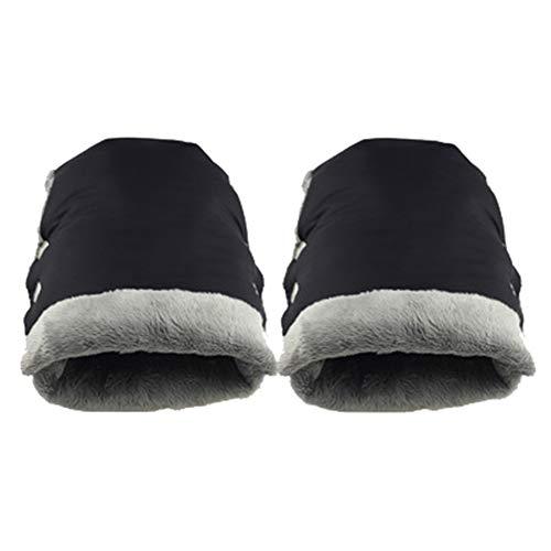 Monbedos Kinderwagen-Handschuhe, warm, für den Winter, für Kinderwagen, Handmuff, wasserfest, für Kinderwagen und Buggy, Dicke Handschuhe, Schwarz