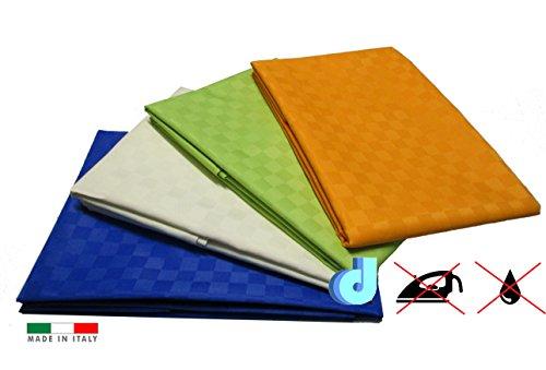 Tovaglia tavola antimacchia no stiro idrorepellente in tessuto arancio verde blu bianco panna (Blu)
