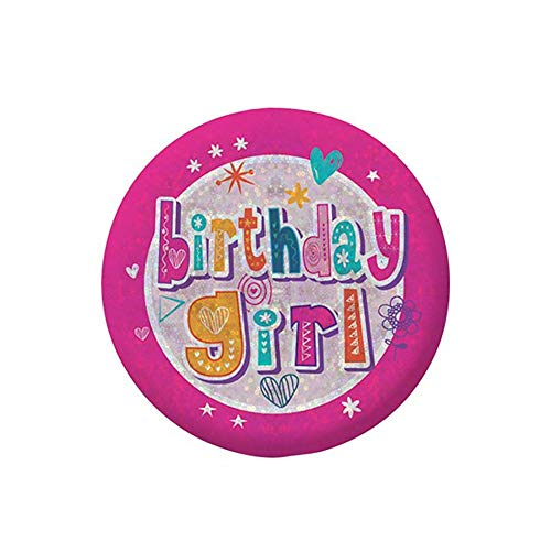 amscan 9900818 Birthday Girl Holographic Badge Party Accessory 5.5cm - 1 Pc, Small