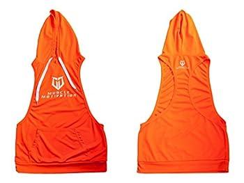 Men Lunatics Gym Stringer Bodybuilder G Cool Sports Exercise Sleeveless Hoodies Orange