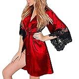 Nachthemd Yazidan Frauen Sexy Seide Kimono Dressing V-Ausschnitt Babydoll Spitze Kante Unterwäsche Gürtel Kurz Bademantel Seidig Satin Verband Nachtwäsche Volltonfarbe Schlaf-Kleid(rot,3XL)