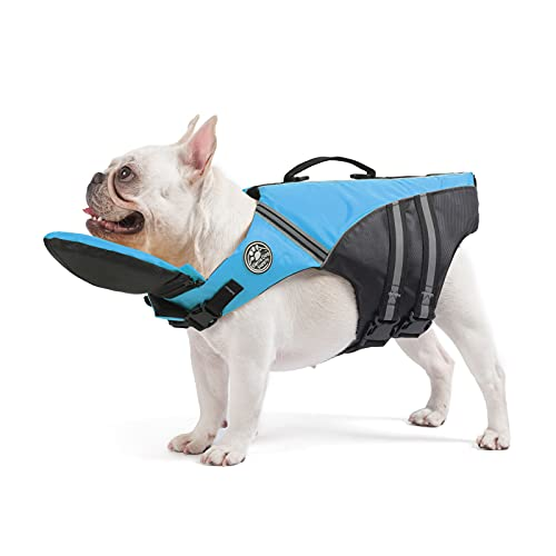Mklhgty French Bulldog Life Jacket with Floating Plate and Reflective Stripes, Ripstop Pet Life Vest Dog Lifesaver for Welsh Corgi, Pug Swimming and Boating(Chest Girth: 17'-30' Weight: 17-28LB)