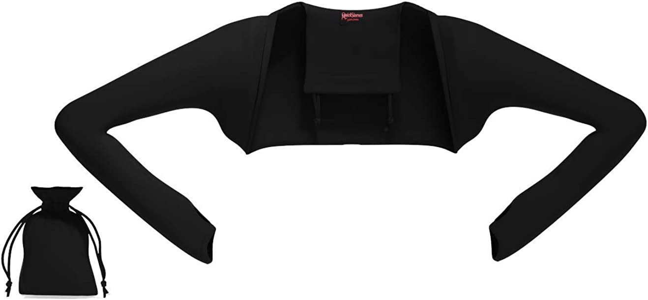 QuickSleeves - The World's First Pouch-to-Shrug That Transforms Into a Long Sleeve Open Front Bolero Shrug Cardigan Vest