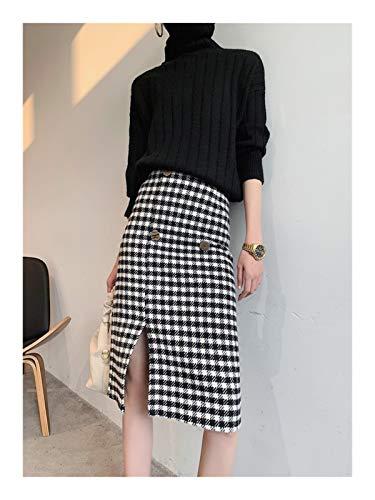 OYZK La Nueva Falda de Lana de Estilo Coreano Temperamento Thinner Thinner, Falda de una línea de un Paso Dividido (Color : Negro, Talla : Large)
