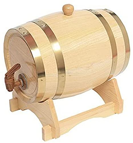 CJDM Dispensador de Barril de Whisky de 5 litros Decantador de Barril de Vino de Roble de Madera para Mesa de Servicio Exhibición de Acento en el hogar Almacenamiento de licores, licores, Whisky