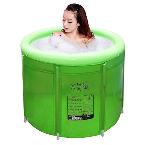 WUZMING Heimgebrauch Tragbare Badewanne, Doppelt Aufblasbare Badewanne Übergroß Erwachsene Faltende Badewanne Verdicken Plastikbadewanne Whirlpool Fass (Color : Green, Size : 100x80cm)