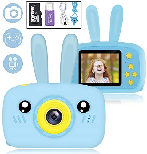 NuoYaRen Kids Camera for Girls Boys, 1080P FHD Digital Video Camcorder with 28 Funny Filters, Soft Silicone Cute Rabbit Shell for 3-14 Years Toddler Children Best Birthday Gift-Blue