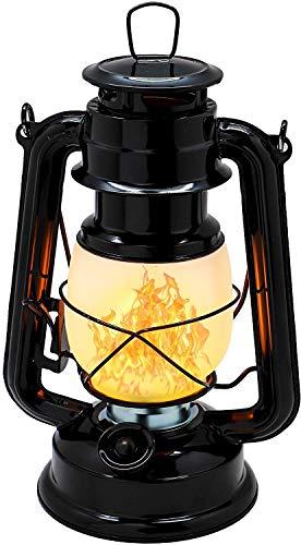 Raelf Lámpara de huracán de ahorro de energía,Interruptor de salida y atenuador,Linterna de camping con batería,Metal,Ajustes de atenuación variables antiguo,Negro