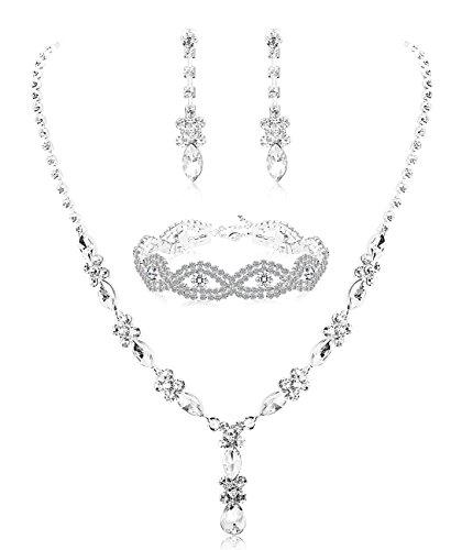Milacolato Rhinestone Conjunto de Dama de Honor para Las Mujeres joyería Nupcial Conjunto Collar Pendientes Pulsera Conjunto Regalos encajan con Vestido de Novia