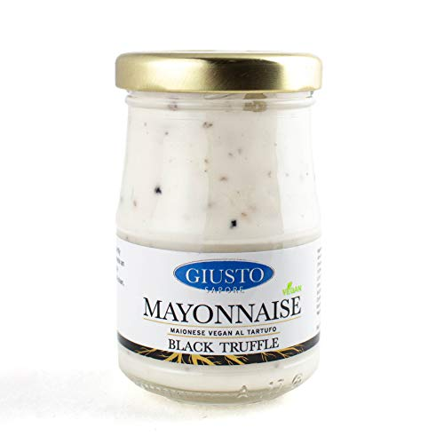 Giusto Sapore Black Truffle Mayonnaise Spread - Vegan & All Natural - Gourmet Food Condiment 3.17 oz