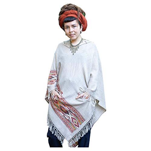 AJJAYA Karuna - Poncho gris claro para mujer, tejido a mano, lana de cachemira pura premium, bordado zen de invierno, festival gitano bohemio, mexicano, azteca, celta