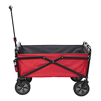 Seina Collapsible Steel Frame Folding Utility Wagon Garden Cart Red  2 Pack