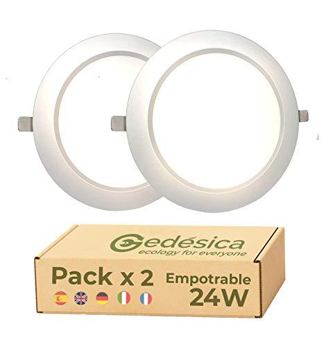 Pack X2 Lamparas de techo, Plafon Led techo, 24W 2800LM diámetro 230mm redondo empotrar downlight led techo Dormitorio, Salon, Pasillo, Cocinas Clase eficiencia energetica A++(4000K-Luz Blanca Neutra)