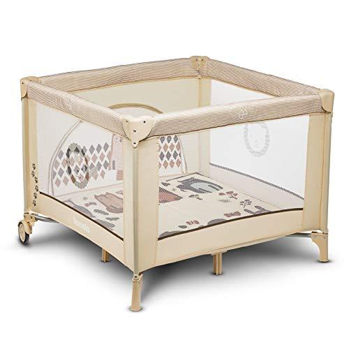 Lionelo Sofie Parque infantil De viaje 100 x 100 x 76 cm Para niños de hasta 15 kg Perfecto en casa y de vacaciones Sistema de plegado seguro Bolsa incluida Beige