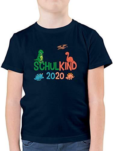 Einschulung und Schulanfang - Schulkind 2020 Dinos - 128 (7/8 Jahre) - Dunkelblau - Einschulung und Schulanfang Schulkind 2020 Dinos - F130K - Kinder Tshirts und T-Shirt für Jungen