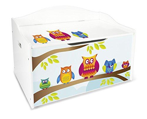 Leomark Kinderbank Hölzerne - Eulen XL - Kindertruhenbank, Behälter für Spielzeug, Truhe für Kinderzimmer, Kindermöbel, Sitzbank Höhe: 46 cm