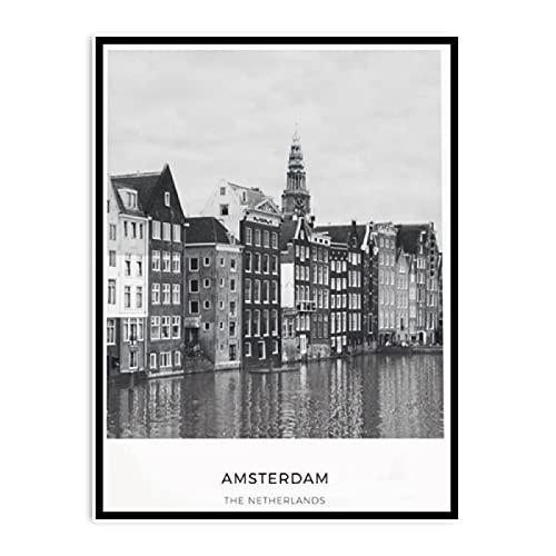 Kying Niederlande Amsterdam Poster Landschaft Wandkunst Leinwand Malerei Schwarz-Weiß-Stadt Landschaft Bilder Wohnzimmer Home Decor-50x75CM Rahmenlos