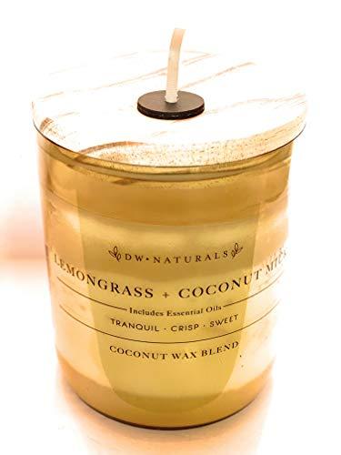 DW Naturals Lemongrass Coconut Milk Double Wick Coconut Wax Blend Candle with Lid 34.2 Oz
