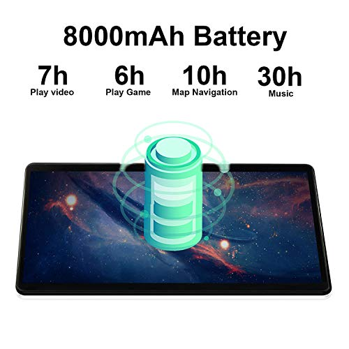 Tablette Tactile 10 Pouces 4G LTE 64Go, 4Go de RAM, Android 9.0 Quad Core Batterie 8000mAh Tablette Dual SIM WiFi Bluetooth GPS OTG (Noir)